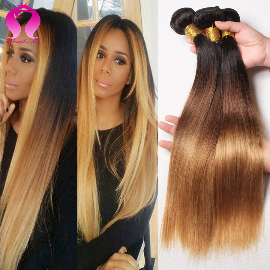 ФОТО 3 Tone Malaysian Straight Hair 3 Bundles Star Style Ombre Malaysian Virgin Hair Straight Ombre Human Hair Extensions Ombre Weave
