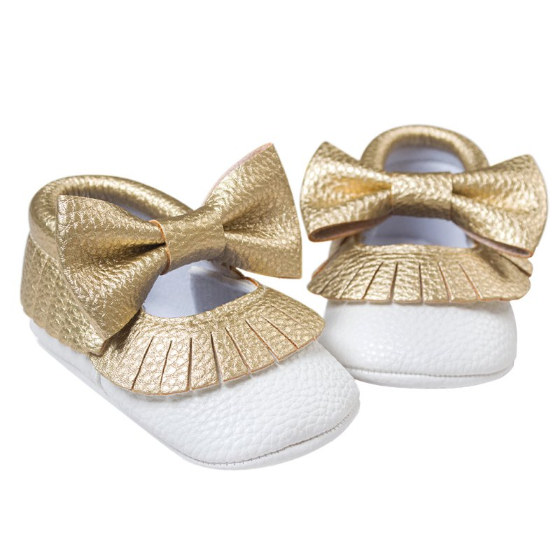Baby Shoes PU Leather Shoes Kids Girls Moccasins Gold Bow First Walker Toddler Shoes New