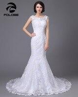 Vestido Novia Custom Made Ivory White Satin Applique Cap Sleeve Lace Mermaid Wedding Dress Robe
