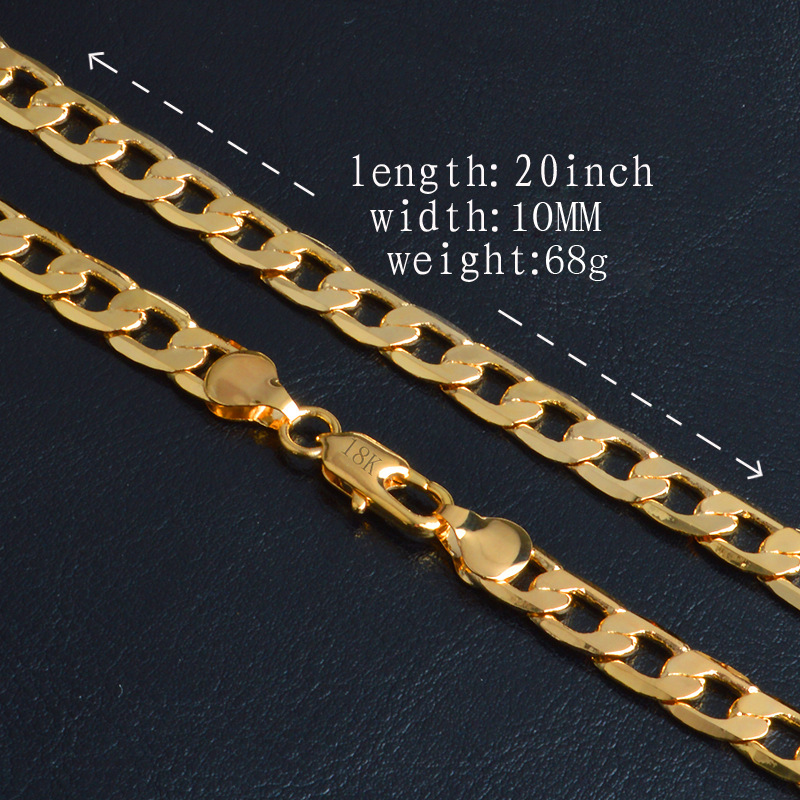 2017 Cuban Gold Color Chains Necklace Men New 10MM Fashion Party Men Jewelry Gift Wholesale Curb Link Chain 1