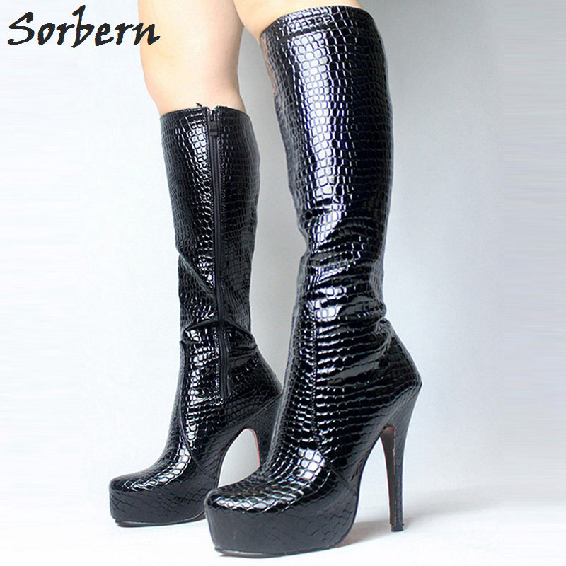 цена Sorbern 2018 New Fetish Serpentine Shoes Sexy 15CM High Heel Side Zipper Boots 4CM Platform Pointed Toe Knee-high Woman Long Boo