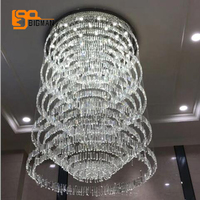 New Design Large Crystal Chandelier Modern Lighting Dia100 H220cm Lustre Hotel Lobby Chandelier LED Lamp
