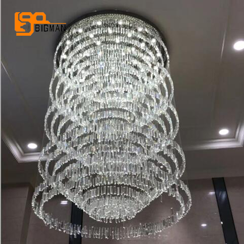 купить new design large crystal chandelier modern lighting Dia100*H220cm lustre hotel lobby chandelier LED lamp по цене 73314.9 рублей