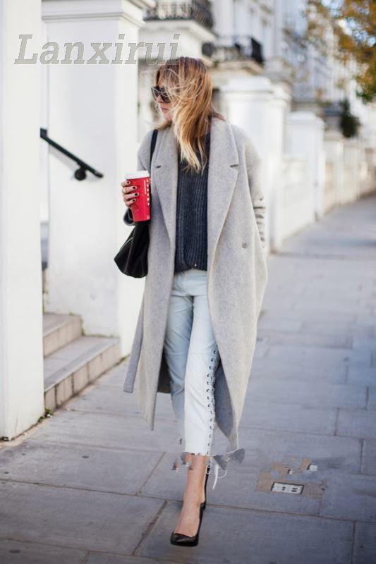 Women 'S Grey Wool Coats Winter Long Coat  New Design Hollywood Warm X -Long Oversize Imitation Cashmere Coats Light Grey