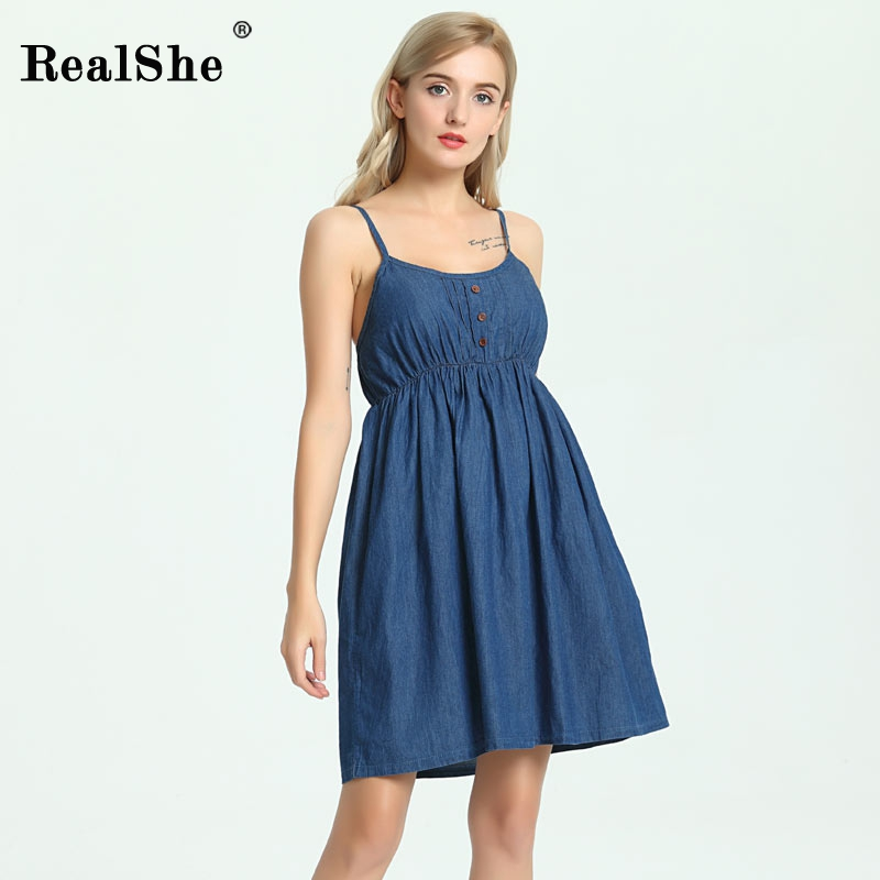 RealShe Women Summer Dress 2018 Woman Sleeveless Floral Print Beach Mini Spaghetti Strap Dress Woman Sexy