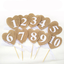10pcs Wedding Party Table Card Love Digital Heart-shaped  Linen Lace Digital Flag Holder Table Digital Map Card  Seat Decoration