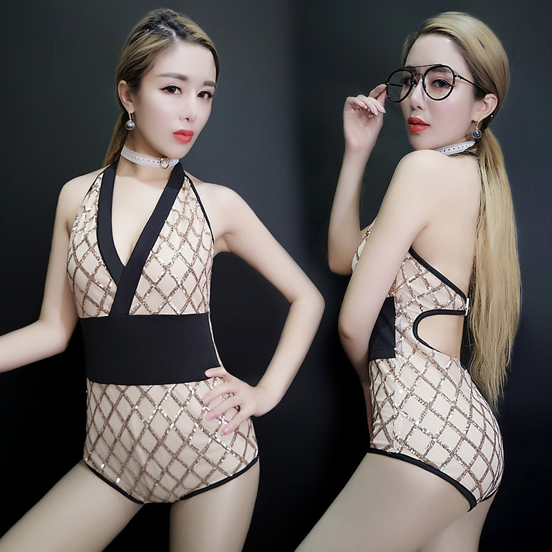 <font><b>2017</b></font> <font><b>sexy</b></font> women net cloth split jazz costume <font><b>bar</b></font> conjoined <font><b>DS</b></font> new lead singer <font><b>dance</b></font> Club DJ deep V collar costumes jumpsuit image