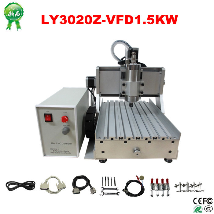 Mach3 low cost mini cnc milling machine CNC 3020 Z-VFD 3 axis 1.5KW VFD water cooling spindle engraving machine