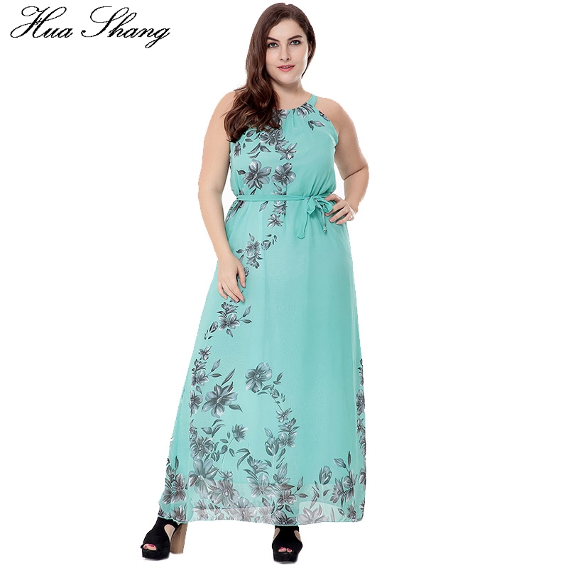 XL 6XL Plus Size Women Summer Casual Beach Dress Halter Neck Sleeveless Floral Print Chiffon Long Bohemian Dress Female Sundress