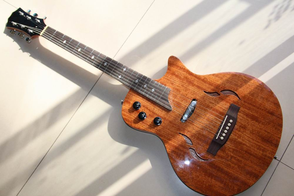 Free Shipping New T5 electric guitar one piece pick ups in Natural wooden 121008 free shipping t