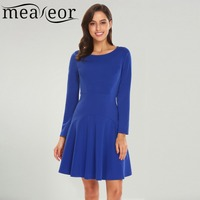 Meaneor Women Casual Dresses 2018 Spring New O Neck Long Sleeve Solid Back Zipper A Line
