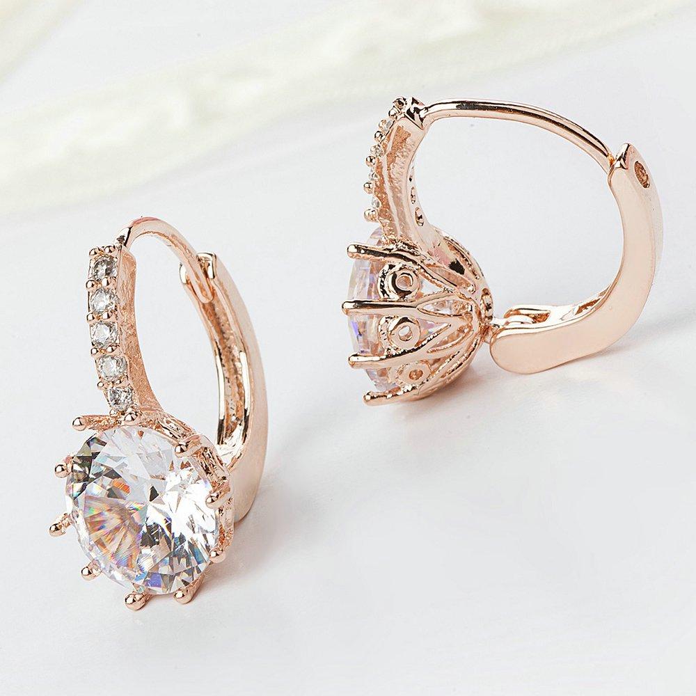 Jiayiqi New Vintage Earrings Rose Gold Crystal CZ Bling Drop Earrings For Women Girls Christmas Gfit Fashion Wedding Jewelry 4