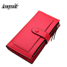 AEQUEEN Women Wallet Long Designer Leather Wallets Coin Purses Female Clutch Ne Credit Card Holder Solid Candy Color Hasp Girls