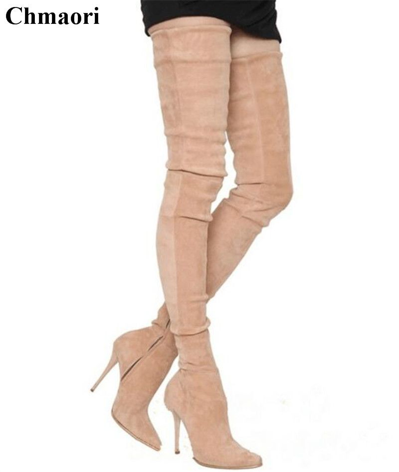 Winter New Fashion Women Pointed Toe Over Knee High Heel Long Boots Street Shoot Sexy Bandage Elastic Suede Leather Thigh Boots цена 2017