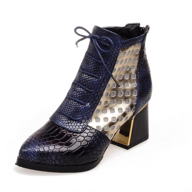 À Mode De automne Femmes Maille Chaussures Plate 047 Xz Chaussures Femelle La brown Blue Courte Simples Serpent Bottes Peau forme Printemps red Avec c4OpYPOqa