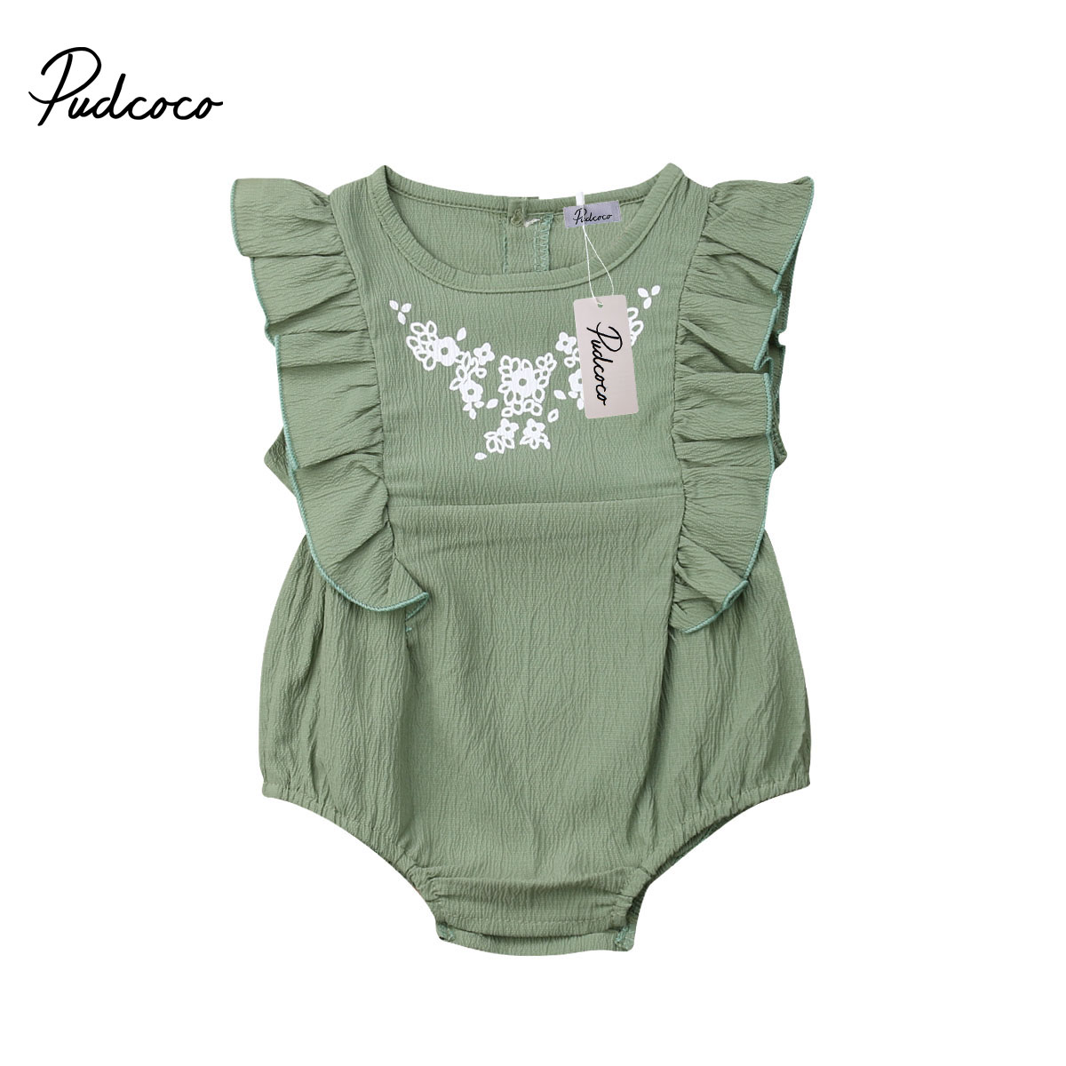 2019 Baby Girl summer clothing Amy green Ruffle flower   Romper   Jumpsuit Outfits for Kid clothes Children newborn infant 0-24M