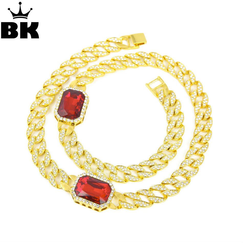 Hip Hop Iced out Red Rhinestone Necklace Full Stone Miami Cuban Link Chain Necklace Vintage Men Women Jewelry for Party Gift vintage rhinestone circle necklace for women