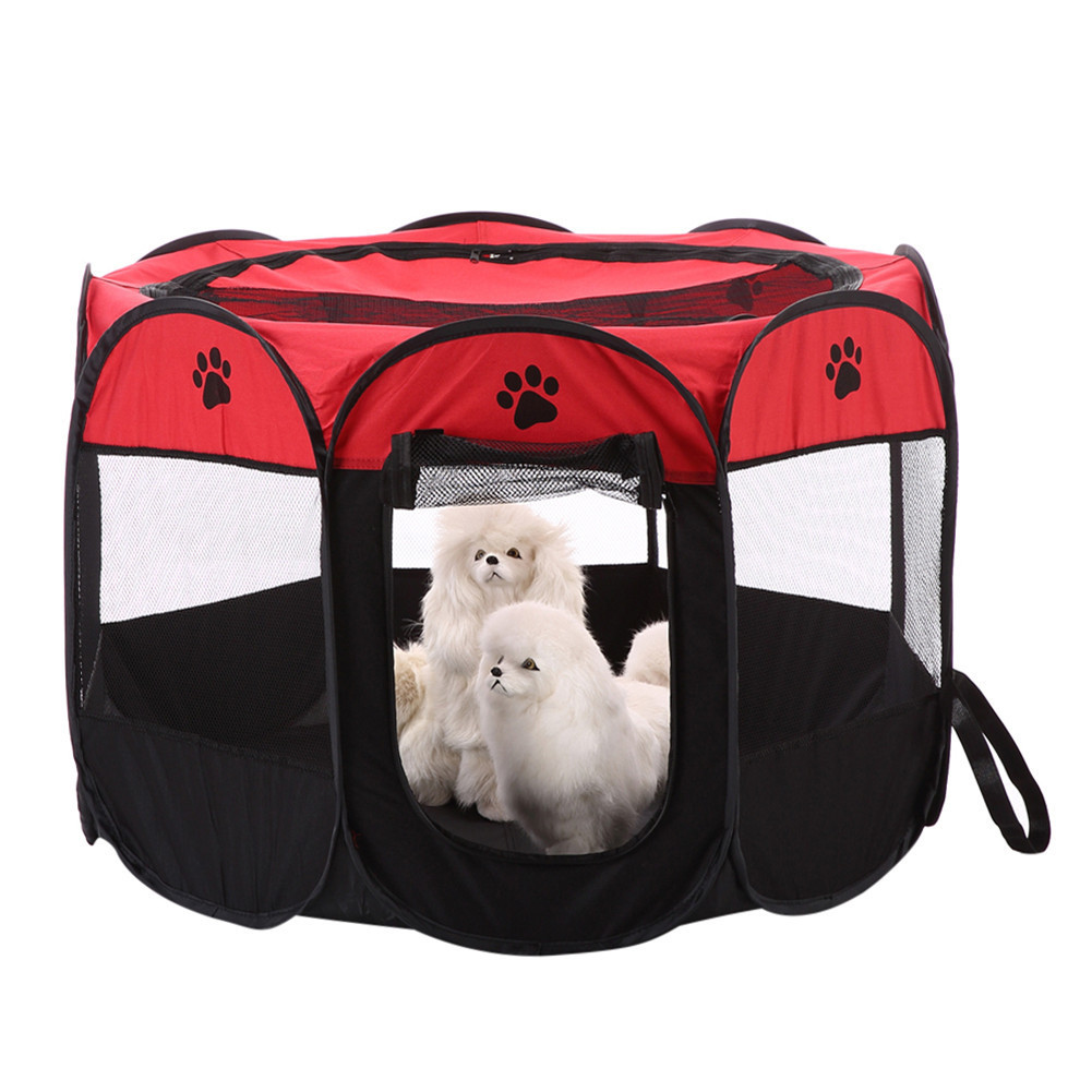 HOT Portable Folding Pet Tent Dog House 8 Sides Cage Dog Cat Playpen Tent  Puppy Kennel Easy Operation Outdoor Foldable Supplies In Houses, Kennels U0026  Pens ...