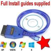 VAG-COM 409,1 Vag Com L USB + Fiat Ecu interfaz coche escaneo Ecu herramienta FT232RL Chip USB Cable OBD2 OBDII escáner de diagnóstico