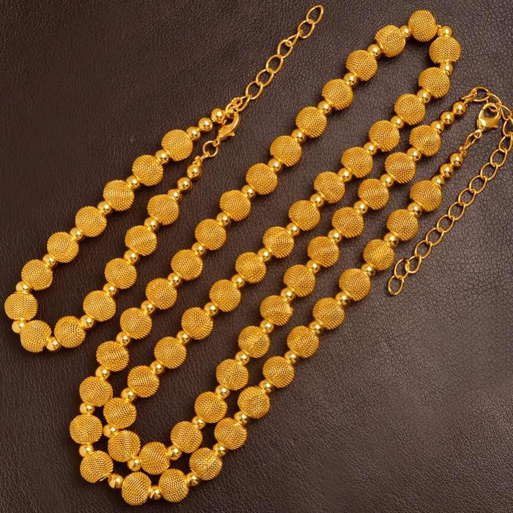 Anniyo 82cm חרוזים שרשרת 24cm צמידים לנשים אופנה זהב צבע כדור תכשיטי קובעת (כדור גודל 1.2 cm) #103606