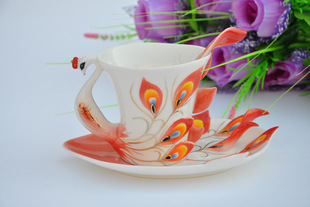 RF13 porcelain peacock peacock coffee cup coffee cup manufacturers selling enamel porcelain dish
