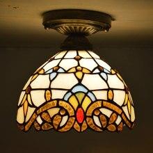 مصباح سقف تيفاني من الزجاج الملون مصباح غرفة المعيشة الباروكي الأوروبي الكلاسيكي E27 110 240V