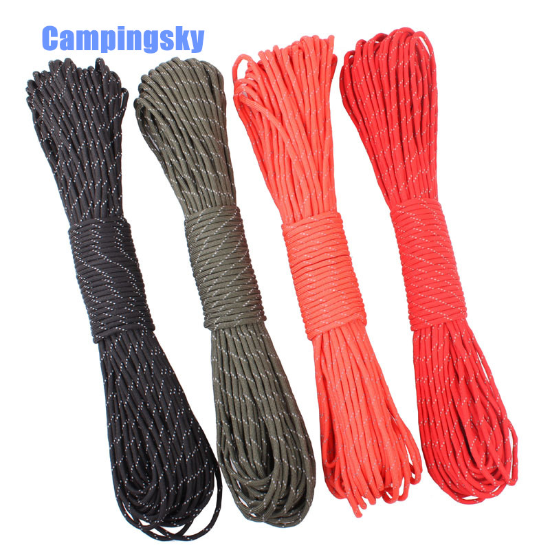 CAMPINGKSY 12 Colors Reflective Paracord 550lb 7 Strand 100FT100 Feet/31 Meter Survival 7strand PARACHUTE