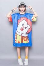 Fashion street fun cartoon m multicolour print plus size clothing short-sleeve dress female