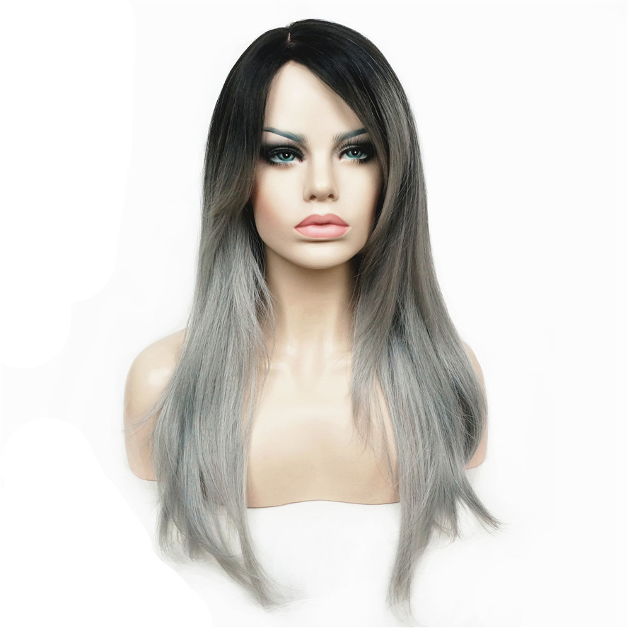 StrongBeauty Women's Wigs Ombre Two tone Black/Silver-grey Mix Long Straight Hair Synthetic Full Wig