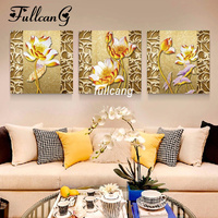 FULLCANG Full Square Diamond Embroidery Golden Lotus Triptych Diy 5D Diamond Painting Cross Stitch Mosaic Arts