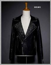 Black rivet winter punk motorcycle oblique zipper men jacket leather dance brand-clothing mens leather jackets and coats 1