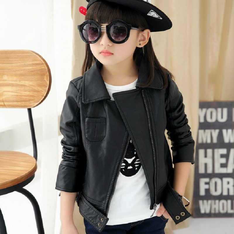 2016 spring autumn girl s clothing girl s jacket children s pu jacket girl s outerwear