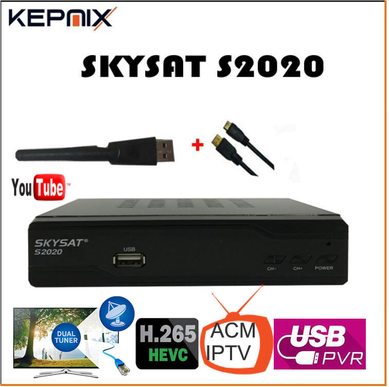 SKYSAT S2020 Twin Tuner IKS SKS receptor acm IPTV H.265 vs skysat v20 Satellite Receiver Brazil for south america stable server
