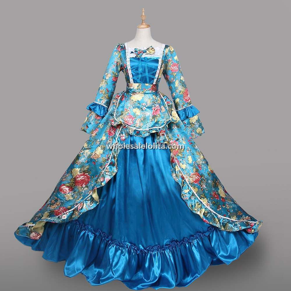 Christmas gown ideas 18th - 18th Century Period Dress Light Blue Satin Brocade Marie Antoinette Costumes China Mainland