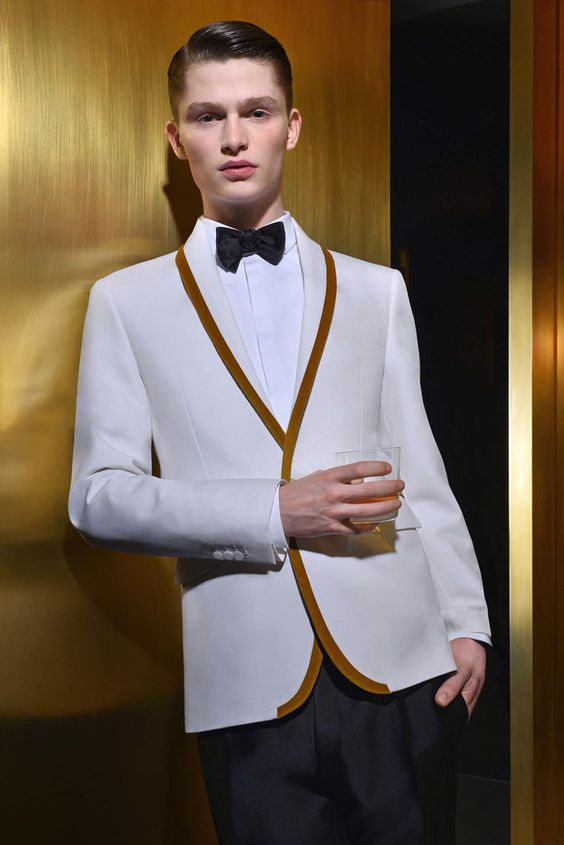 Latest Coat Pant Designs White Gold Trim Tuxedo Jacket Prom Men Suit Slim Fit Custom 2 Piece Suits Groom Blazers Terno Masculino