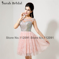 Pink Lace Prom Dresses With Crystal Sleeveless 2015 Hot Sale Short Party Dresses Sheer Neckline Open