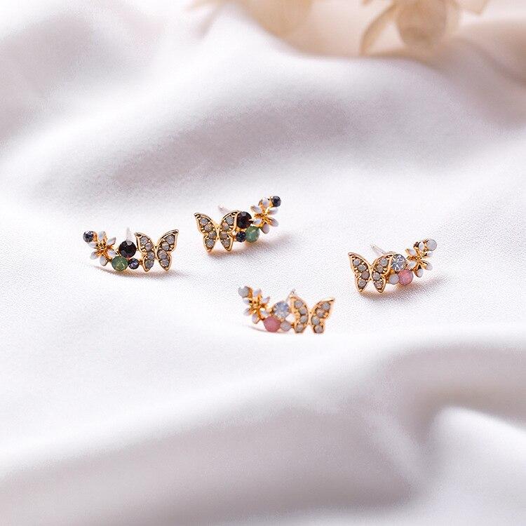 2018 Hot Style Fashion Animal Flower Colorful Rhinestone Stud Earrings Pendientes Elegant