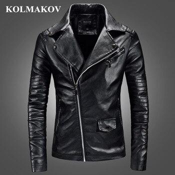 KOLMAKOV 2019 New Men's Jackets PU Faux Leather Short Jacket Men Slim Fit Fashion Motorcycle Solid Overcoats Homme M-3XL