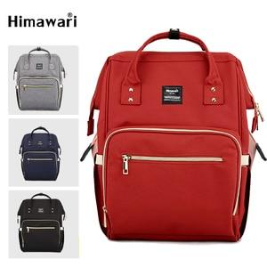 Image 1 - Himawari klasik bebek bezi çantası moda kadın seyahat sırt çantaları Laptop büyük kapasiteli mumya analık bez torba Bolsa Maternidade