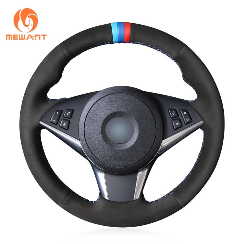 MEWANT Black Genuine Leather Car Steering Wheel Cover for BMW E60 530d 545i 550i E61 Touring 2005-2009 E63 E64 630i 645Ci 650i mewant black genuine leather suede car steering wheel cover for bmw e60 m5 2005 2008 e63 e64 cabrio m6 2005 2010