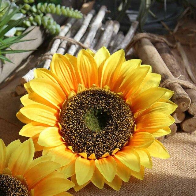 Silk artificial sunflower flower heads bouquet floral garden home silk artificial sunflower flower heads bouquet floral garden home decor yellow fake flowers fleurs artificielles hot mightylinksfo