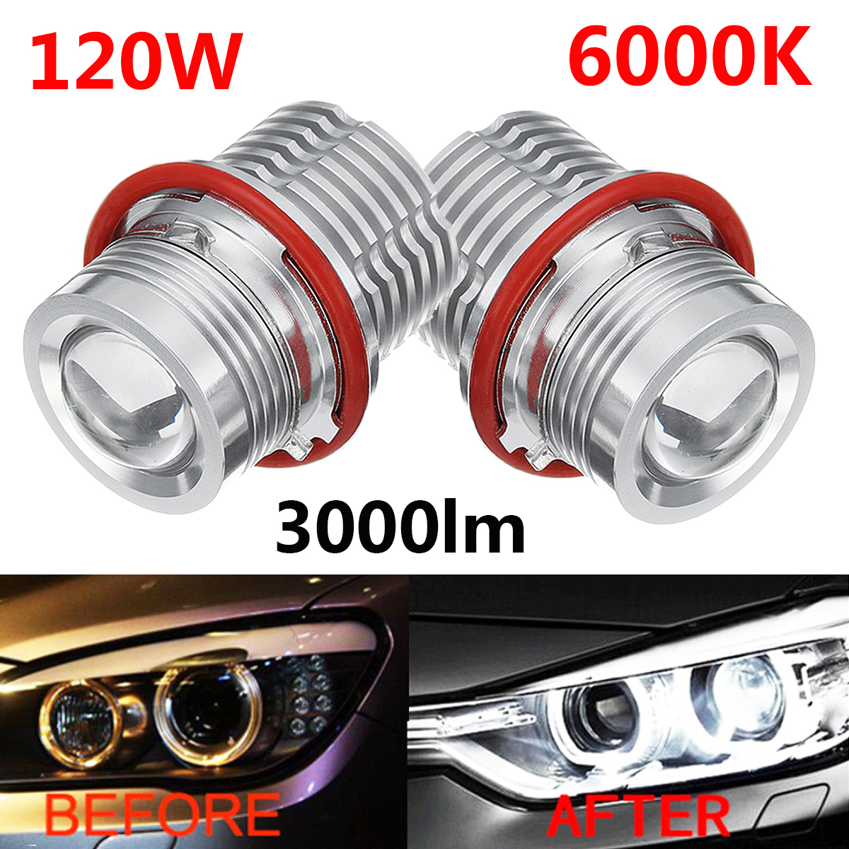 2pcs LED Angel Eyes for BMW E39 E60 E63 E53 Marker Light Bulb Error Free Bulbs 6000K 120W White LED Front Light Car Headlight