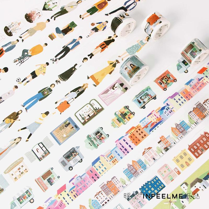 Creative Modern People City Style Decorative Washi Tape DIY Scrapbooking Masking Craft Tape School Office Supply