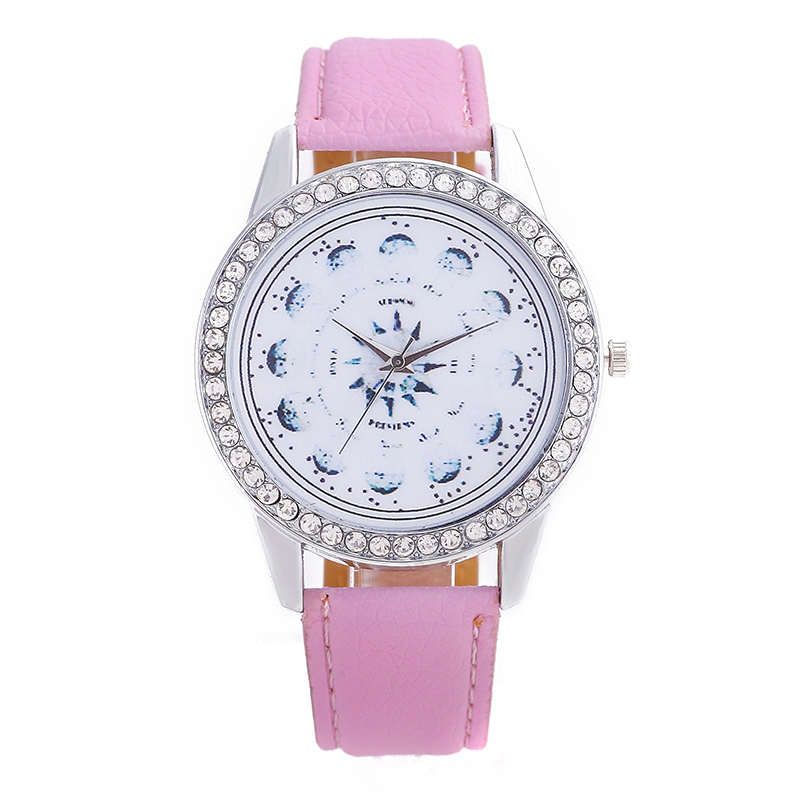 Hot Women Watches Leather Watch Diamonds Flower Pointer Dial Solid Color High Quality Fashion Student Ladies/ Men Watch