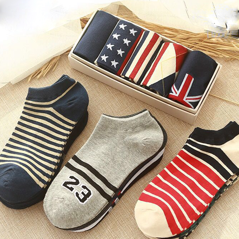 Oloey New Styles Men's Cotton Sport Socks High Quality Brief Invisible Slippers Male Shallow Mouth No Show Sock 5Pairs / Lot