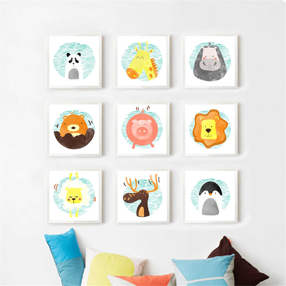 Children Room Wall Decor Art Fashion Cute Poster Prints Cartoon Animal Deer Pig Bear Painting Modern Nordic Style Canvas