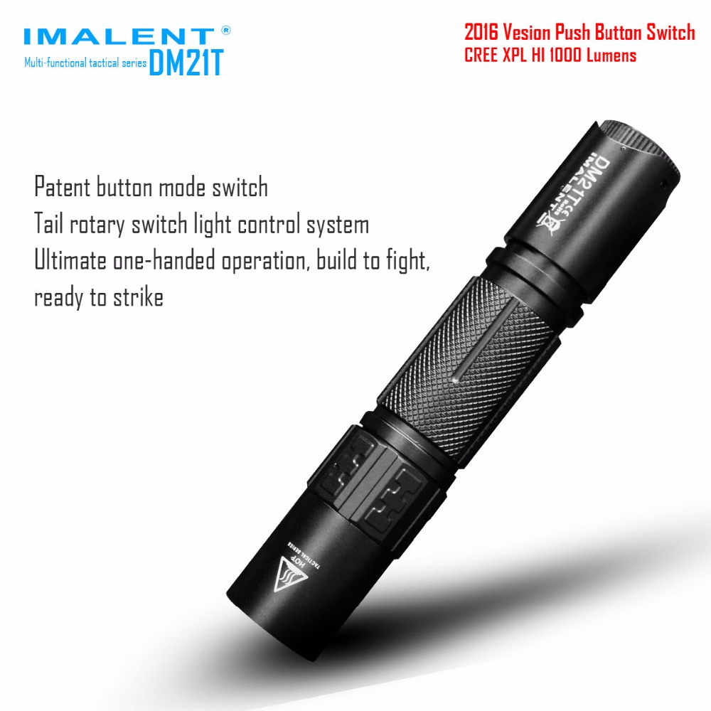 IMALENT DM21T CREE XPL HI LED 1000lm Tactical Flashlight for Self-defense Tactical Searching 18650 Battery Flash Light Torch new klarus xt11gt cree xhp35 hi d4 led 2000 lm 4 mode tactical led flashlight free usb port and 18650 battey for self defence