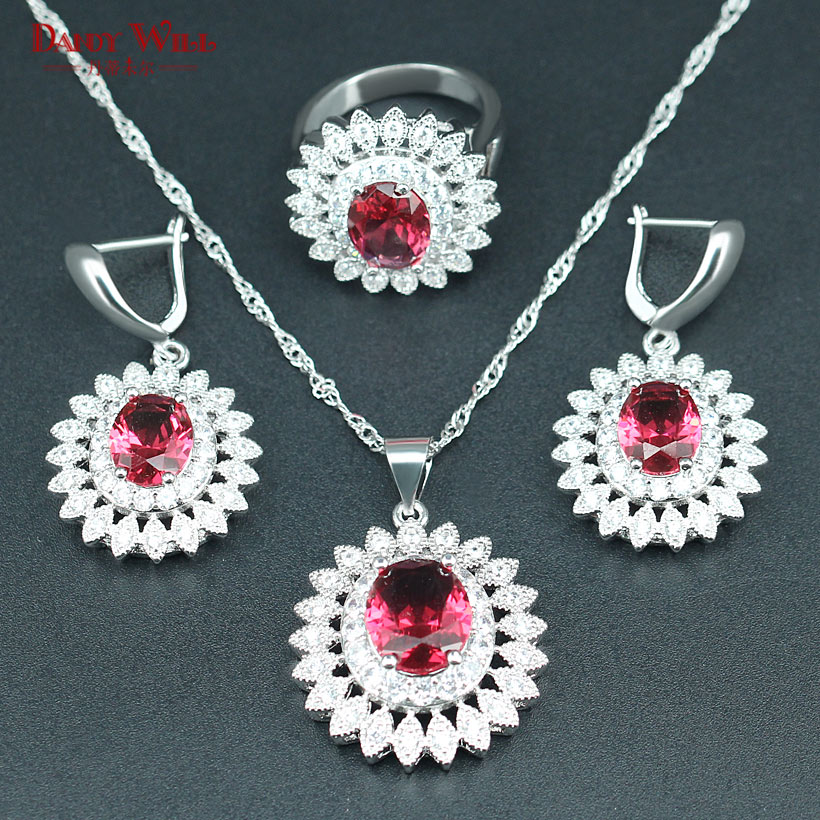2019 New Style Sun Flower Jewelry Set For Women 925 Logo Green Cz White Crystal Silver Color Bracelets/necklace/earrings/ring/pendant Wedding & Engagement Jewelry
