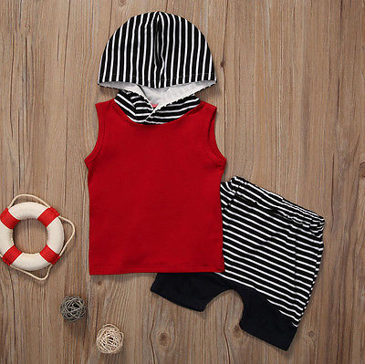 2pcs Summer Baby Boy Sleeveless T-shirt Vest+Pants Outfit Toddler Hooded Baby Boy Clothes Set 2pcs set baby clothes set boy
