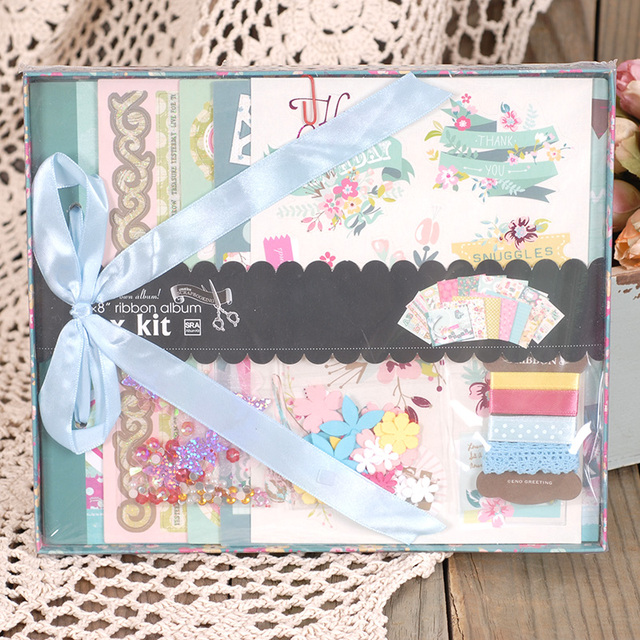 ENOGREETING new born baby theme diy photo album set with scrapbooking paper and 3D stickers Gift kit